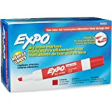 EXPO Low-Odor Dry Erase Markers, Chisel Tip, Red, 12-Count