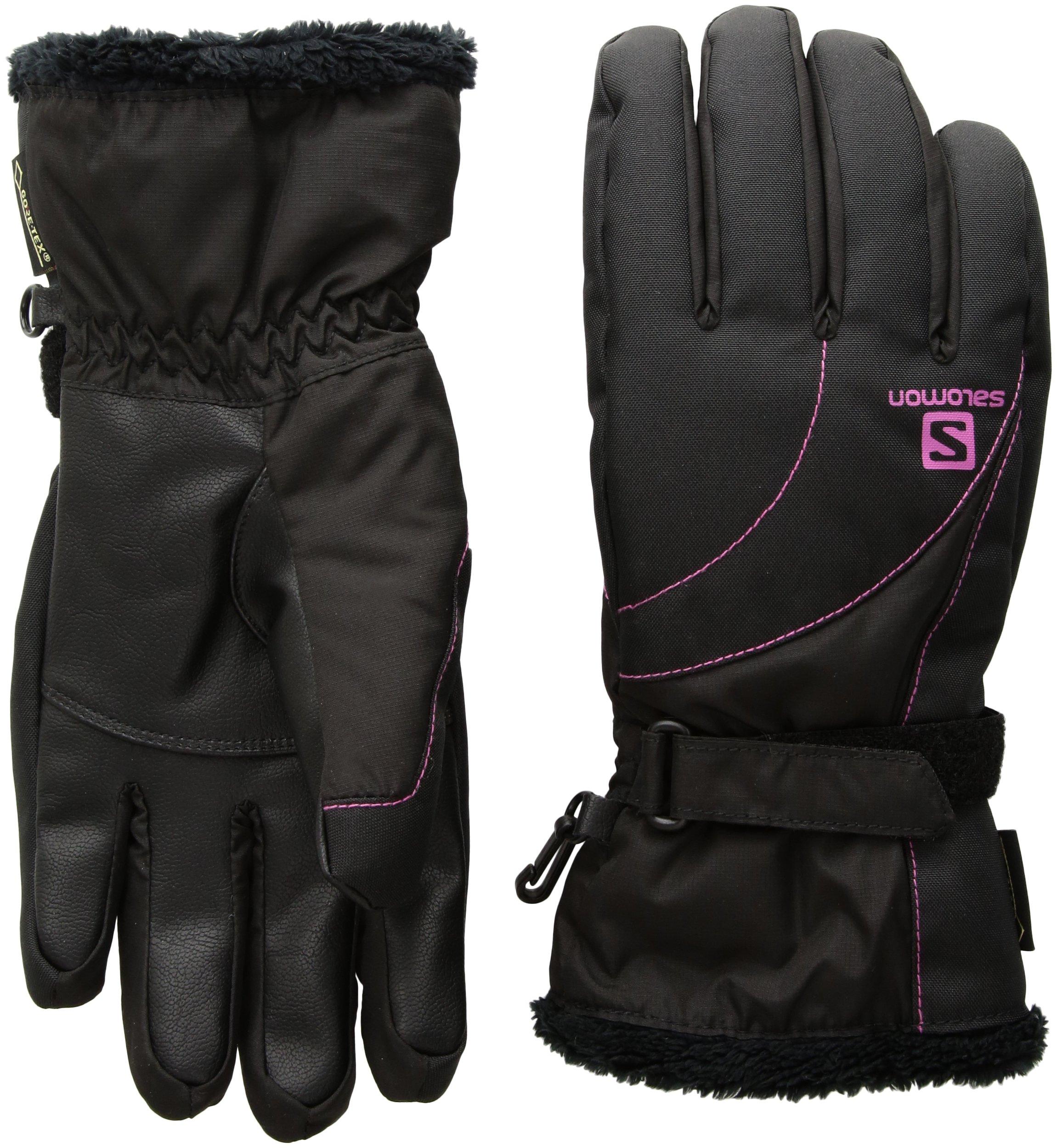 Salomon Women's Force GTX Gloves, Black/Rose Violet, Large