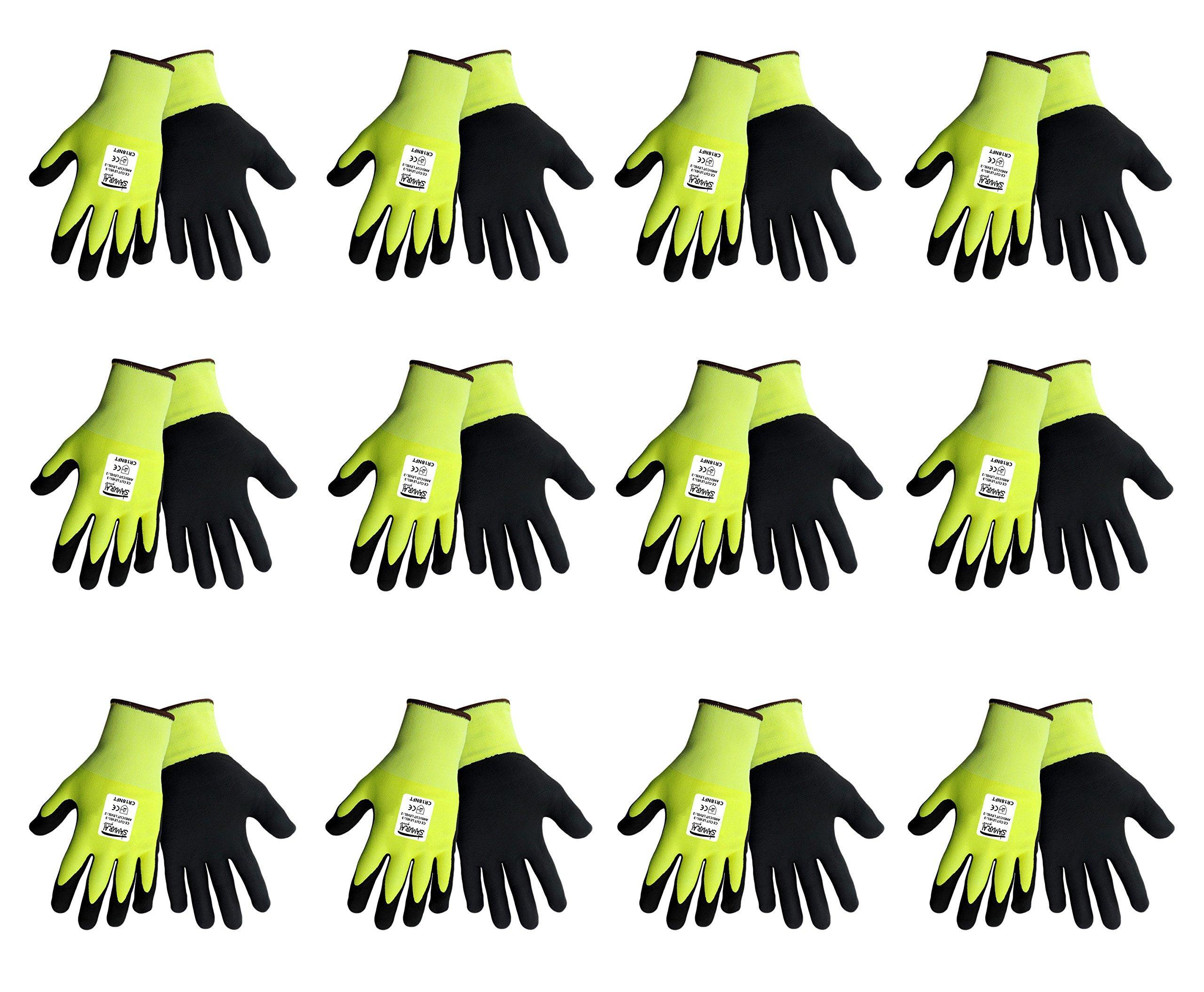 Samurai CR18NFT Hi-Vis Cut Resistant Nitrile Grip Glove, ANSI Cut Level 2, (12 Pair Pack) (Extra Large)