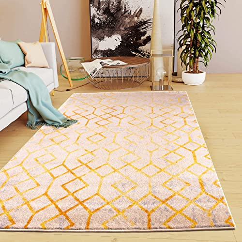 Super Area Rugs Modern Scandi Links Area Rug, 7 10 x 9 10 , Beige Gold