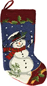 """Glitzhome 19"""" Handmade Hooked Snowman Christmas Stocking with Scarf"""