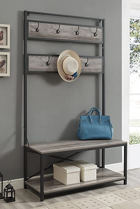 WE Furniture Industrial Metal And Wood Hall Tree In Grey Wash   72u0026quot;