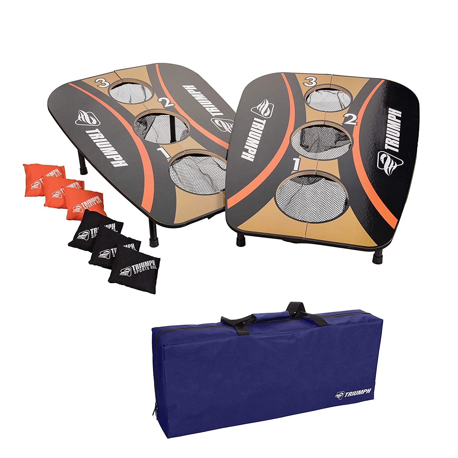 Amazon.com : Triumph 3-Hole Foldable Outdoor Bag Toss Game Includes Six Durable Square Bean Bags : Children S Games : Sports & Outdoors