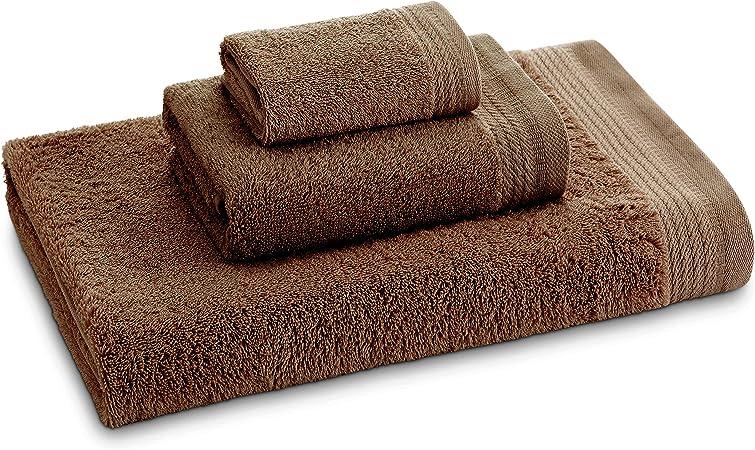 Eiffel Textile Juego de Toallas Calidad Rizo 600 gr, Algodón Egipcio 100%, Visón, 70x140 cm, 3 Unidades: Amazon.es: Hogar