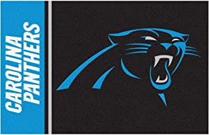 "FANMATS 8255 NFL Carolina Panthers Nylon Face Starter Rug Team Color, 19""x30"""