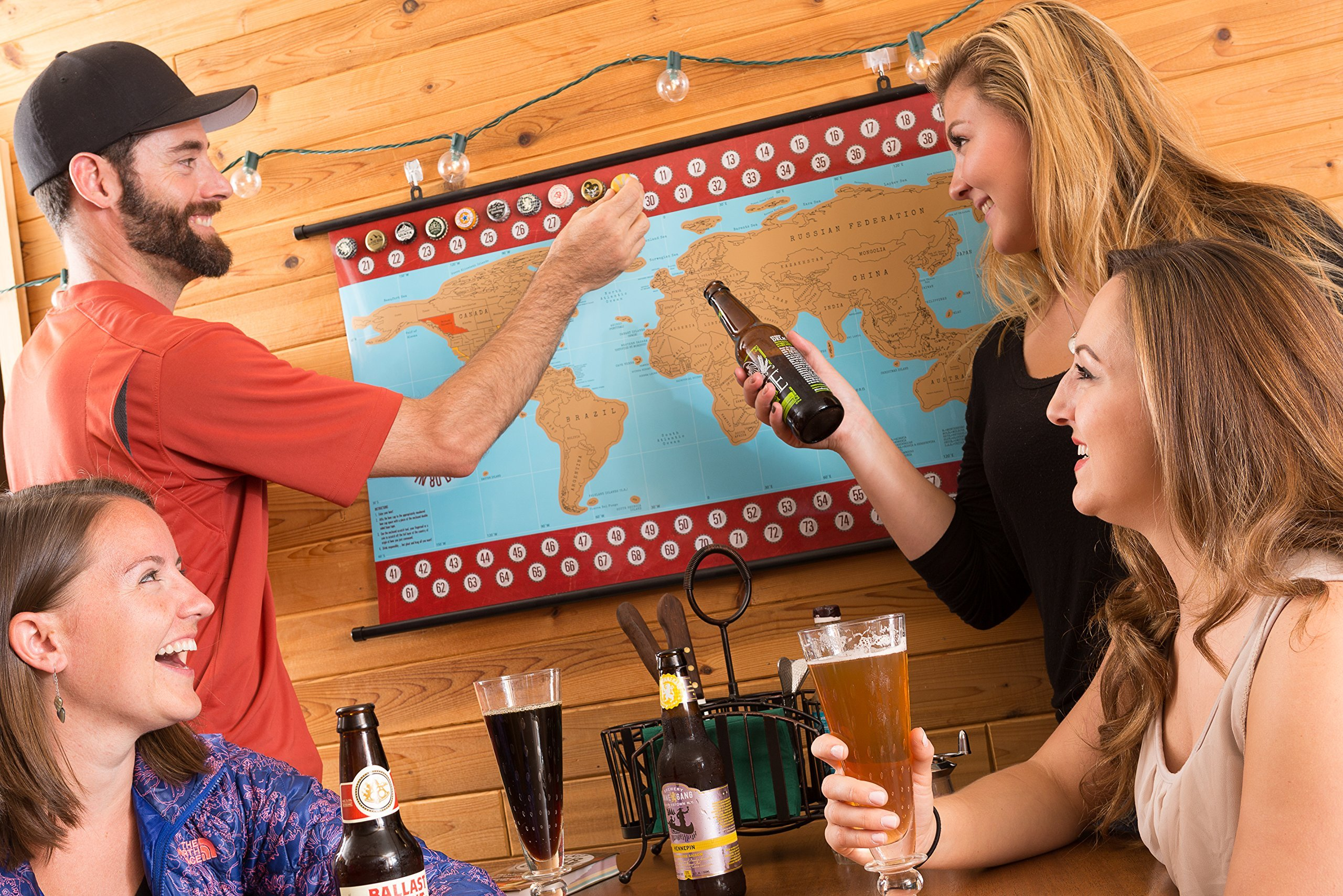 Beer Cap Map – This unique Scratch Off World Beer Map was featured on NBC as a top Beer Lovers Gift/Perfect for the serious Craft Beer Enthusiast/Great Beer Deserves to be Remembered!