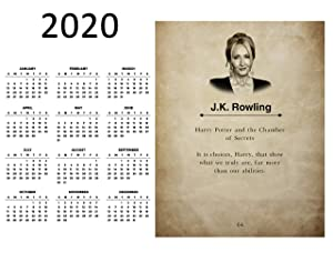 J.K. Rowling 2020 Calendar Wall Art Print, Idea for Home, Office or Classroom Decor, Great Gift for H Potter Fan, 11 inch x 14 inch By H+CO Inspired