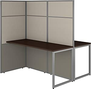 Bush Business Furniture Easy Office 2 Person Cubicle Desk Workstation with 66H Panels, 60Wx60H, Mocha Cherry