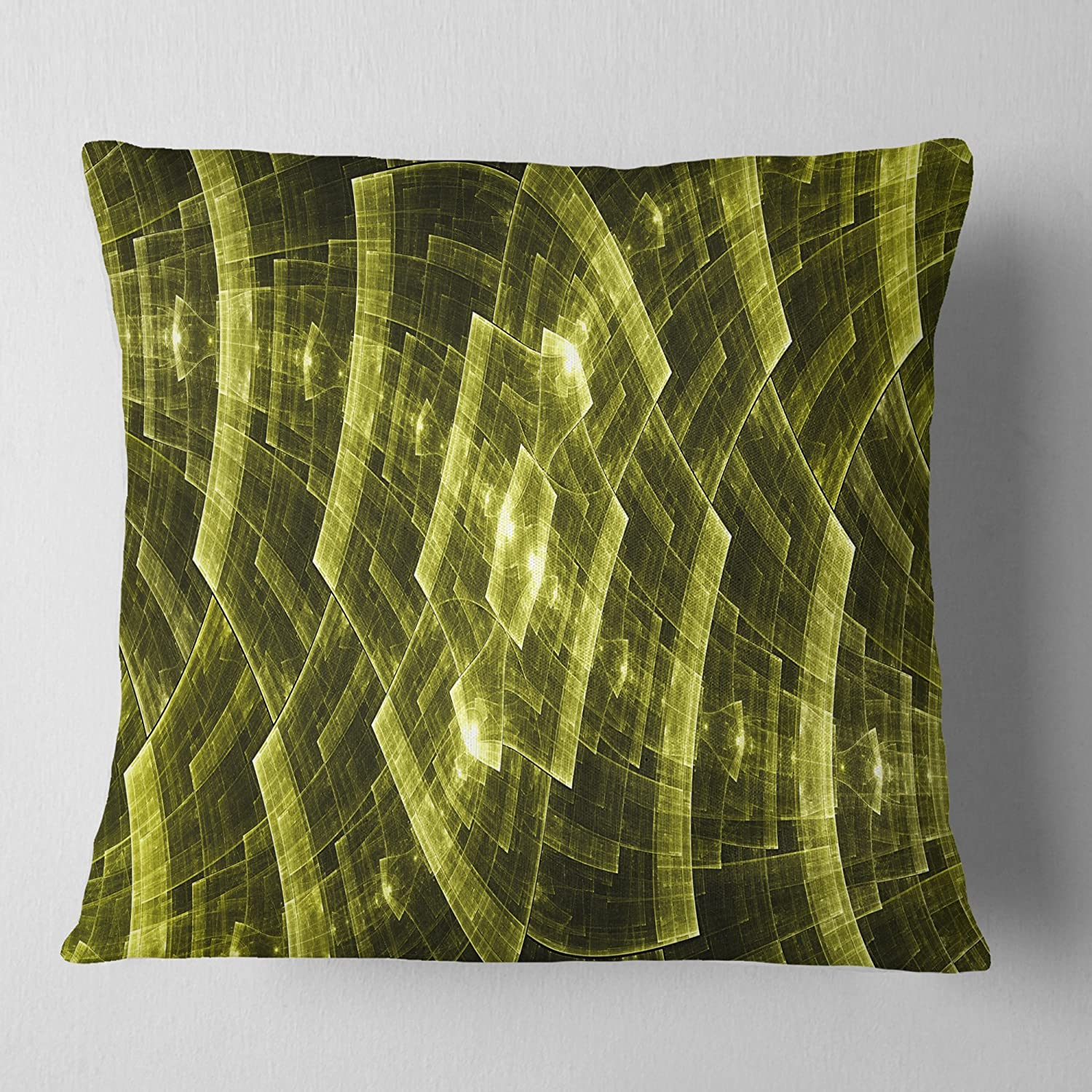 Sofa Throw Pillow 18 in Insert Printed On Both Side Designart CU11961-18-18 Bright Yellow Fractal Flower Grid Abstract Cushion Cover for Living Room x 18 in in