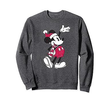unisex disney vintage mickey mouse christmas sweatshirt 2xl dark heather