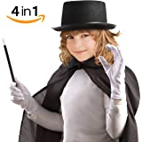 Child's All In One Halloween Magician Role Play Dress up Costume Set, Hat, Cape,Gloves And Wand