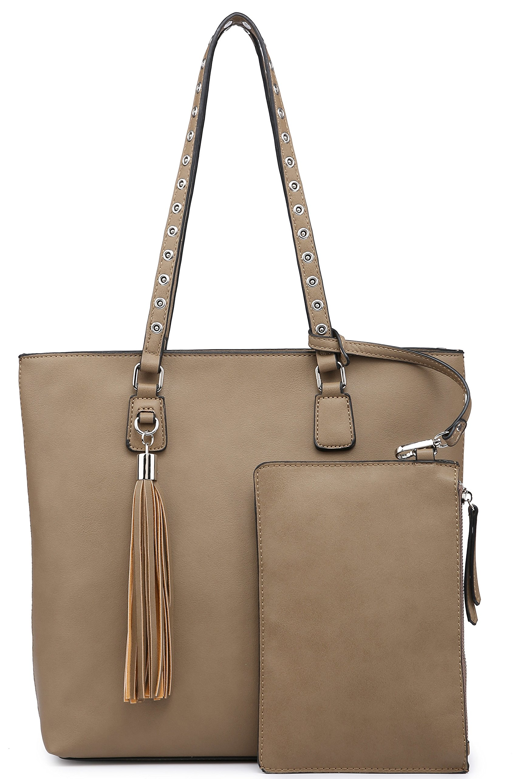 Shoulder Purse,Hobo Bag Set Tote Handbag for Women Large Chic Classic Elegant Medium Size with Wallets Tassels (Medium, Taupe)