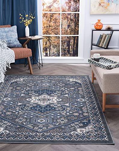 Tayse Logan Gray 9×13 Rectangle Area Rug for Living, Bedroom, or Dining Room – Traditional, Oriental