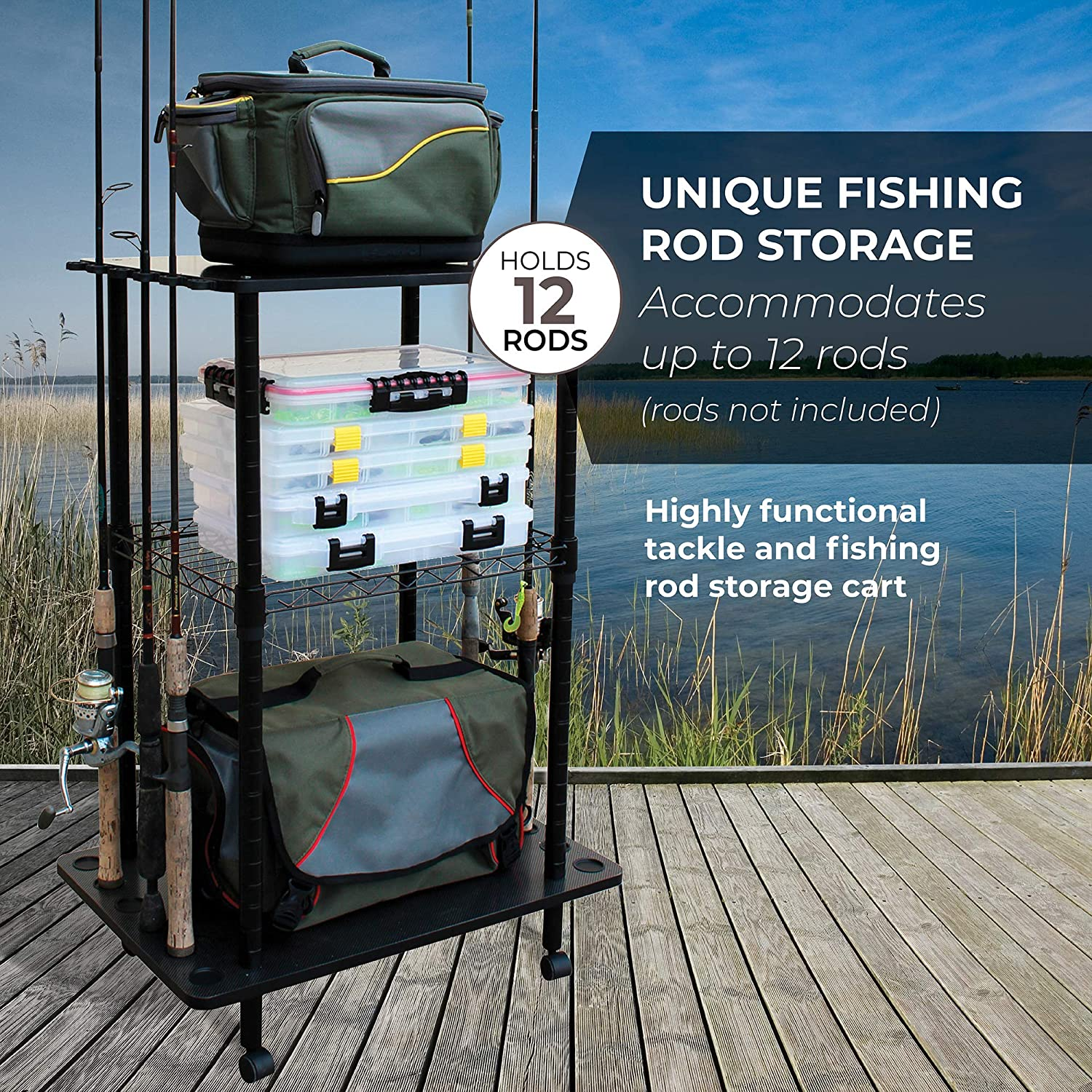 Rush Creek Creations 12 Fishing Rod Storage Tackle Cart - Durable Finish - 5 Minute Assembly : Sports & Outdoors