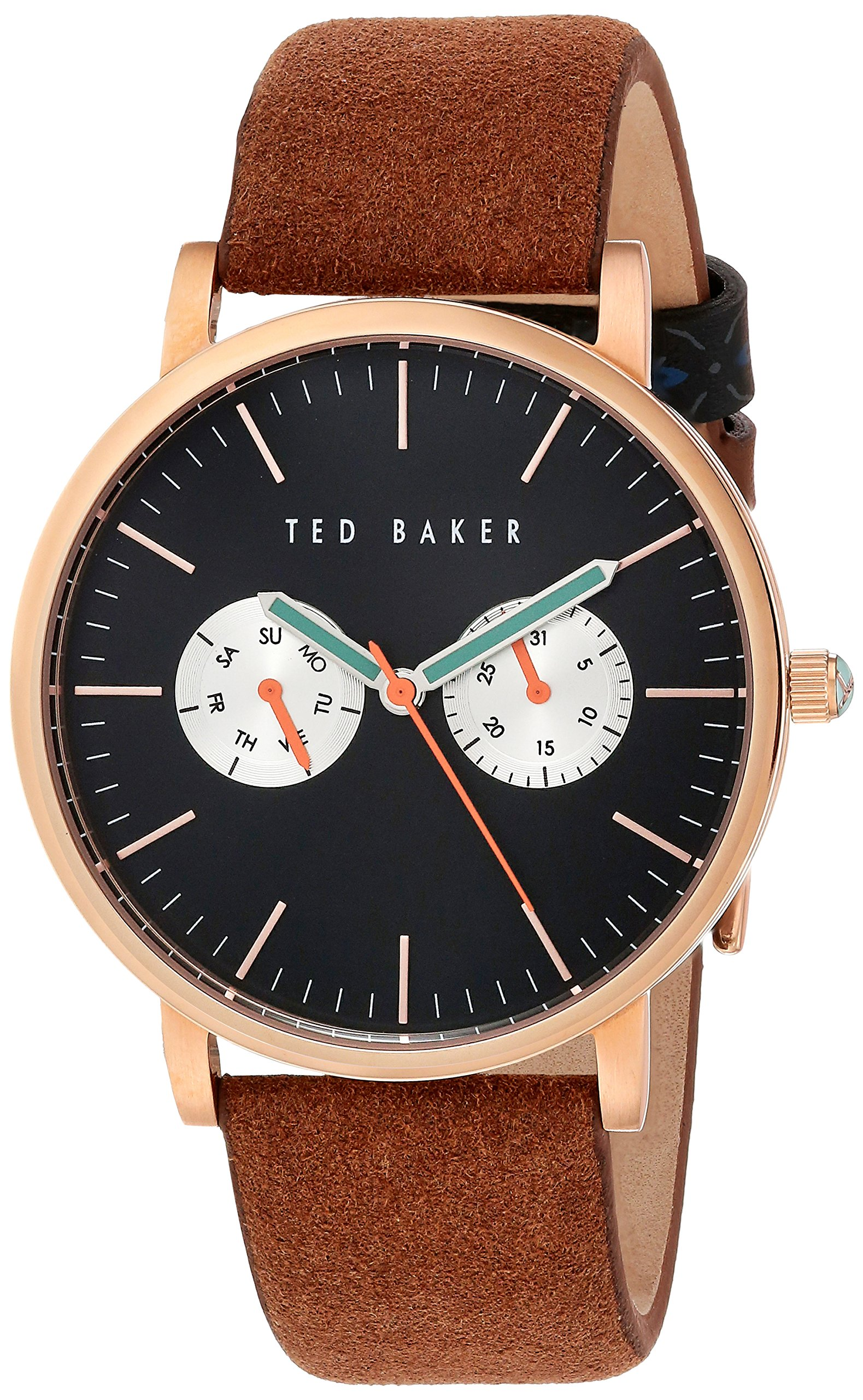 Ted Baker Men's 'Smart Casual' Quartz Stainless Steel and Leather Dress Watch, Color:Brown (Model: 10030761)
