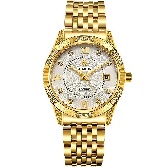 BINLUN 18 K Chapado en Oro de Relojes para Hombres Impermeable Lujo Vestido Reloj de Pulsera con Fecha: Amazon.es: Relojes