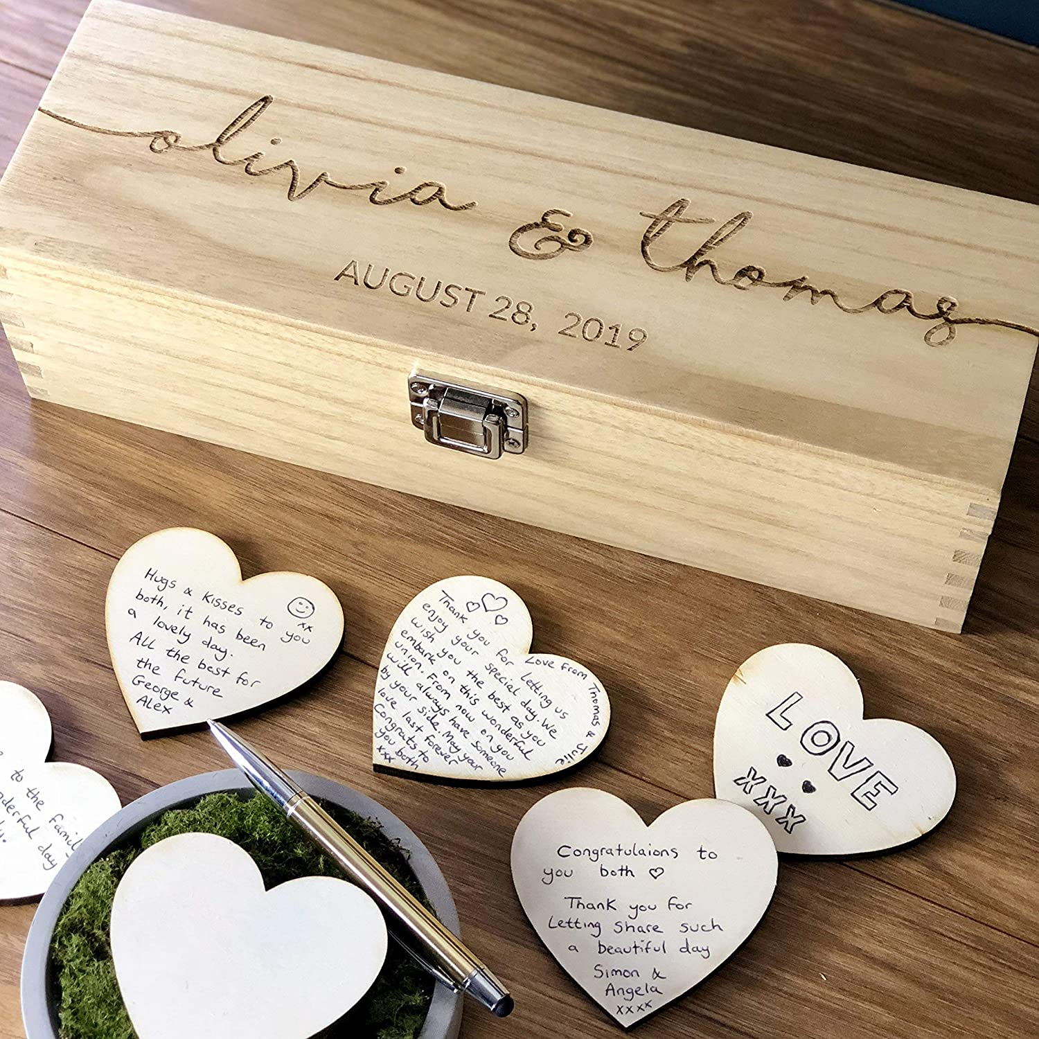 Wedding Guest Book Personalised Wooden Rustic Guest Book Guestbook Sign Personalised Custom Guest Book GuestBook Alternatives With Wooden Hearts Hearts Drop Box Guest Book
