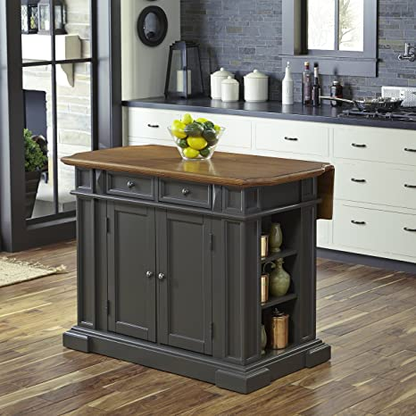 Amazon Com Americana Gray Kitchen Island With Drop Leaf By
