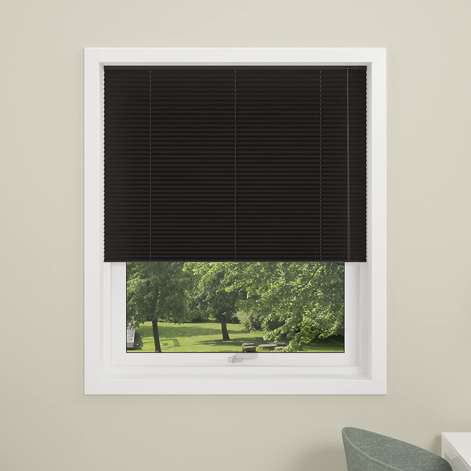 DEBEL 60 x 130 cm 100 Percent Polyester London Pleated Blind, Black DECO GROUP 741800059