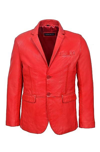 Nuevo 3450 Milano 2 botón CLASIFICADOR Blazer Rojo Chaqueta de Piel de Cordero Napa (S