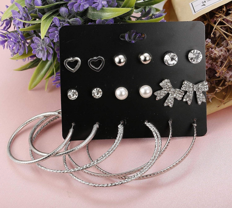 ORAZIO 9-45 Pairs Assorted Multiple Stud Earrings for Women Big Hoop Earrings for Girls Silver Tone