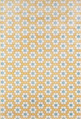 """Novogratz Terrace Collection Hex Tile Indoor/Outdoor Area Rug, 5'3"""" x 7'6"""", Yellow"""