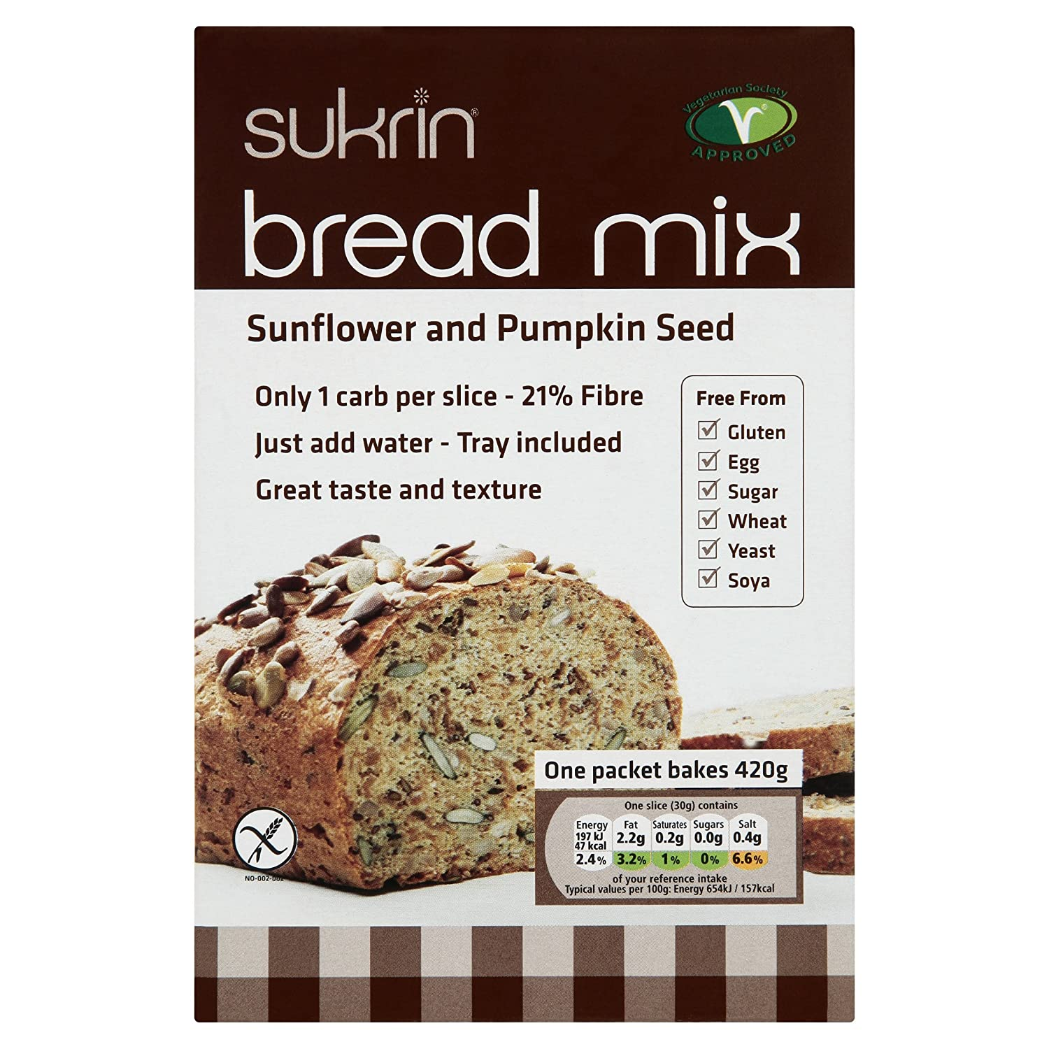 Sukrin Sunflower and Pumpkin Seed Low Carb Free-From Bread Mix. Low Fat, Low Calorie, Egg, Yeast, Soya, Sugar, Wheat and Gluten Free, Great Taste!