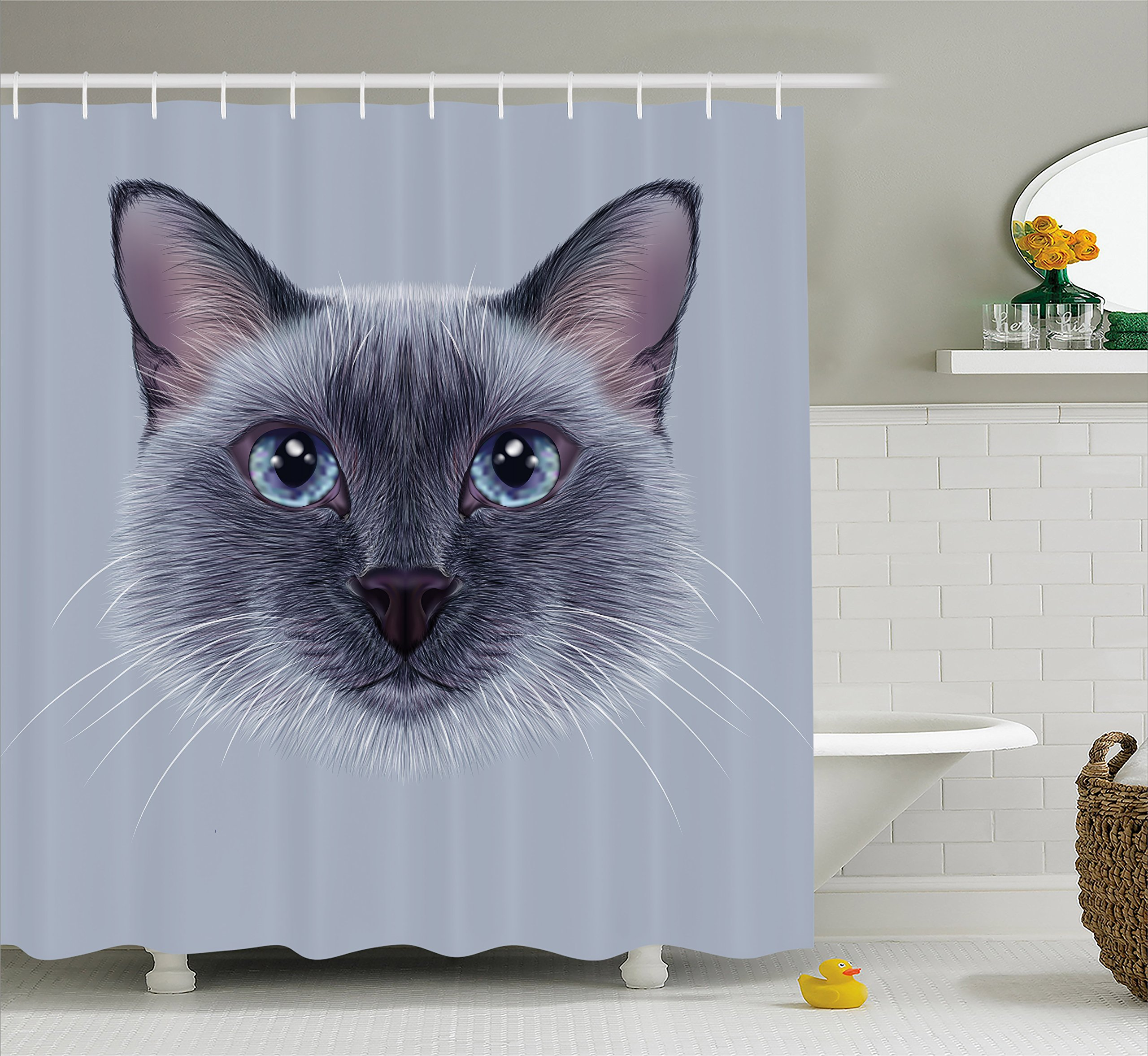 Ambesonne Animal Shower Curtain, Portrait Image of Thai Siamese Cat with Retro Style Lettering Artwork, Fabric Bathroom Decor Set with Hooks, 75 Inches Long, White Sky Blue and Grey by Ambesonne