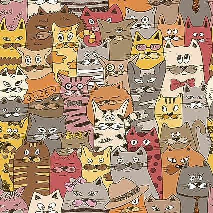 Amazoncom Cute Silly Wallpaper Of Kitty Cats Cartoon Icon Vinyl