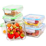Elacra Glass Food Storage Containers with Locking Lids - Perfect for Storing Food and Packing Lunch - Oven and Freezer Safe, Set of 6 boxes and 6 lids
