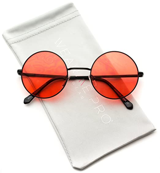 0dac2c16592c WearMe Pro - Colorful Tinted Retro Circle Sunglasses (Black Frame/Tinted Red  Lens,