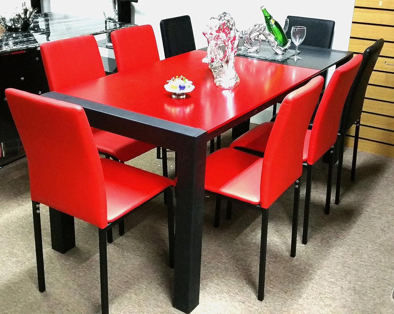 Mesa de comedor con sillas extensible rojo y negro 8 PU sillas ...