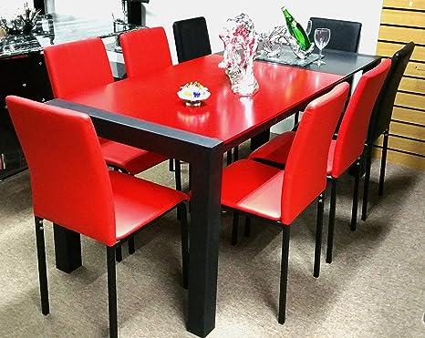 Mesa de comedor con sillas extensible rojo y negro 8 PU ...