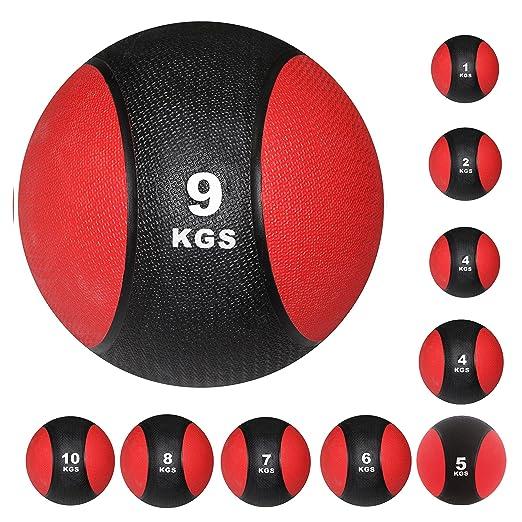 3 opinioni per POWRX- Palla medica in plastica, gonfiata ad aria, 1 kg, 2 kg, 3 kg, 4 kg, 5 kg,
