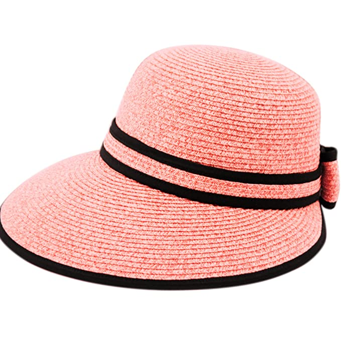 Straw Packable Sun Hat with Black Sash- Wide Front Brim and Smaller Back (A 1757f027f49