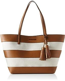 7376bd3de14a Michael Kors Women s Large Stripe Leather And Canvas Top-Handle Bag Tote