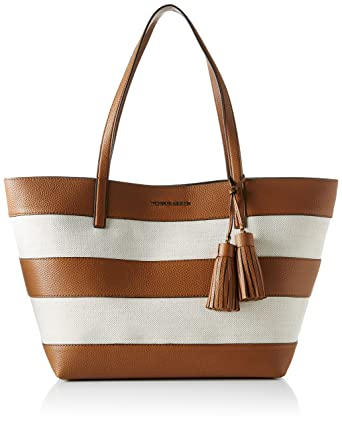 c1859bea2be9 Michael Kors Womens Canvas Shopper Tote Handbag Brown Large ...