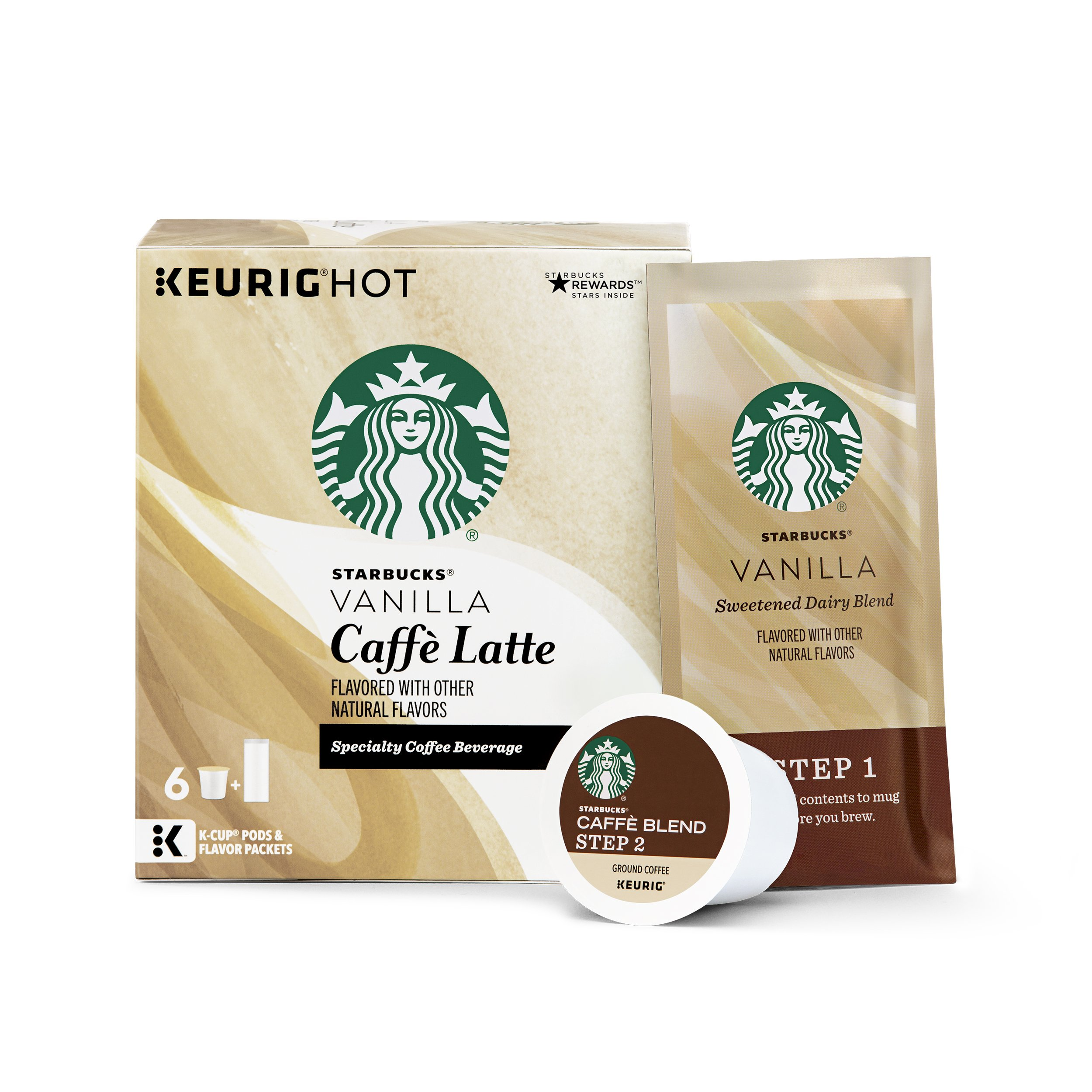 Starbucks Vanilla Flavored Blonde Light Roast Single Cup Coffee for Keurig Brewers, 6 Boxes of 10 (60 Total K-Cup pods)