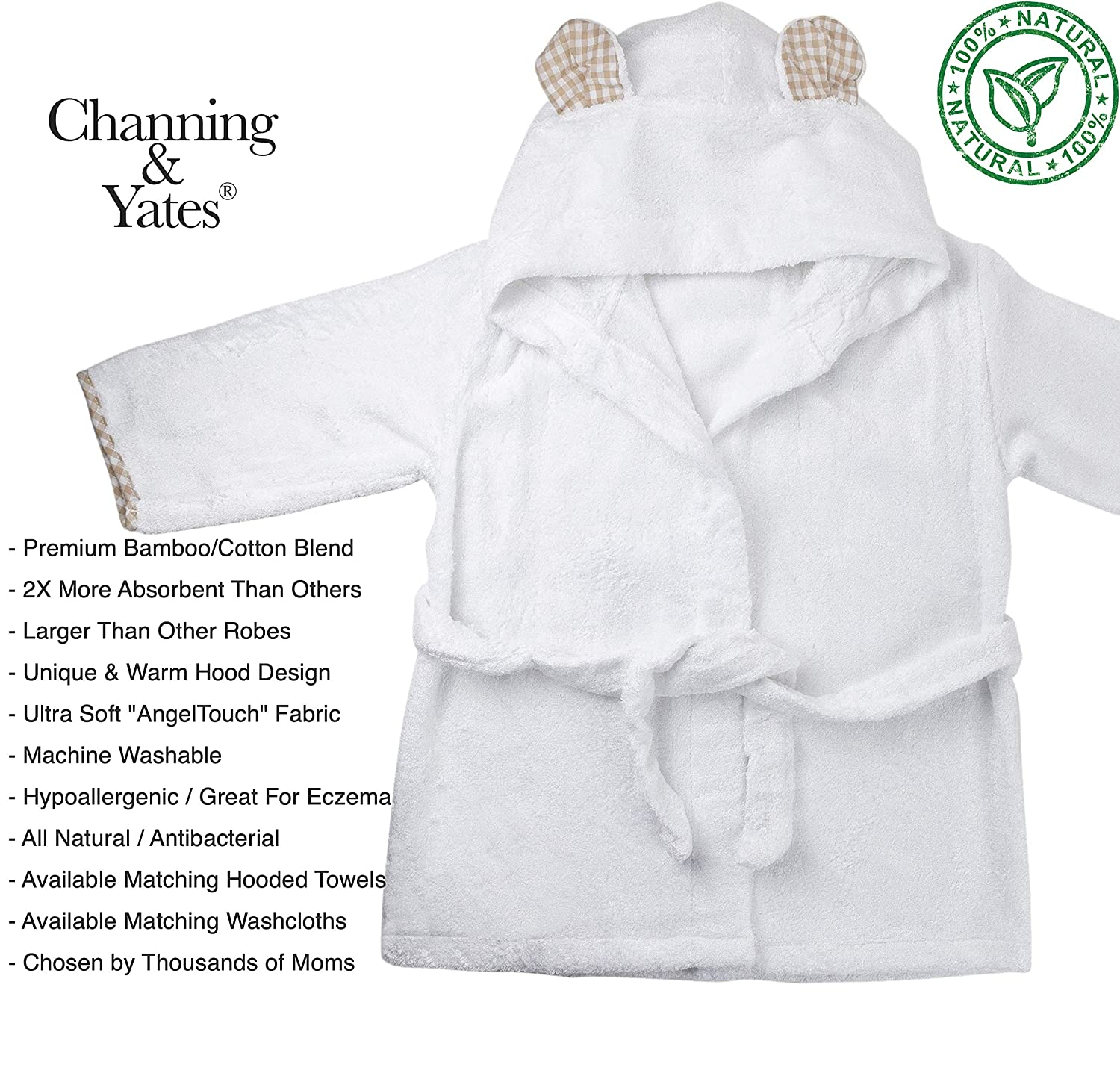 32ff68031c Amazon.com   Channing   Yates - Premium Baby Robe - Toddler Robe - Organic  Bamboo Hooded Bathrobe Towel - Thick   Soft - Toddler Essentials - Perfect  for ...