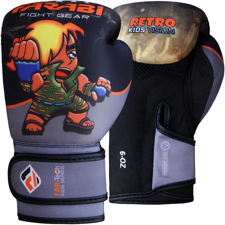 Farabiレトロ子供用ボクシンググローブジュニアWarriorシリーズトレーニングバッグパッドワークアウトPunching Bags Sparring Top定格MMAムエタイキックボクシングPunching Bag Youngグローブシリーズ B06ZZR32X3 グレーブラック 4Oz