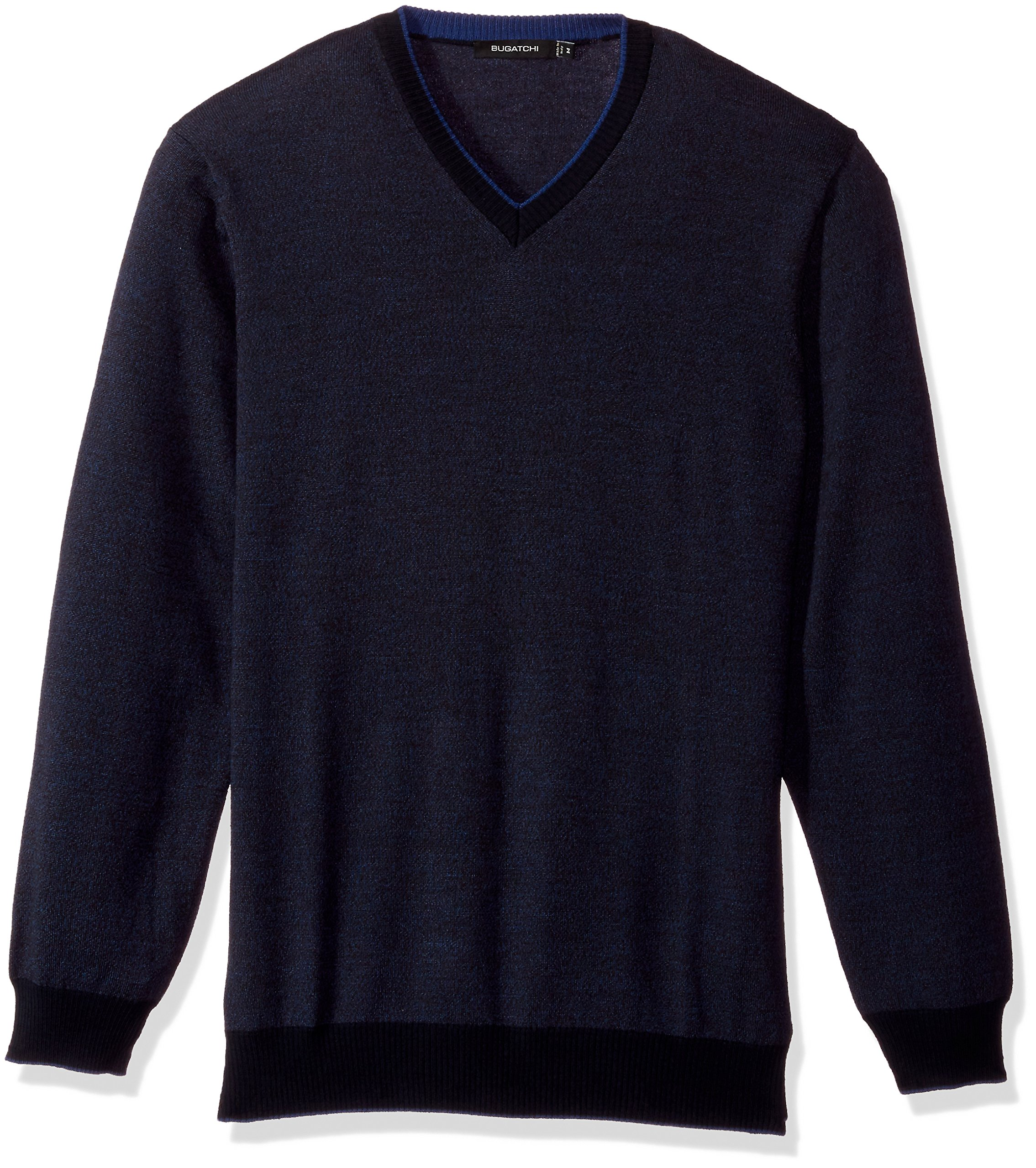 BUGATCHI Men's Extra Fine Merino Wool Sweater, Navy, Small