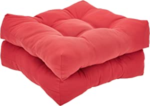 AmazonBasics Tufted Outdoor Seat Patio Cushion - Pack of 2, 19 x 19 x 5 Inches, Red
