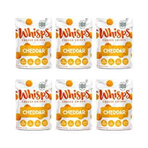 Whisps Cheddar Cheese Crisps   Back to School Snack, 100% Cheddar Cheese, Keto Snack, Gluten Free, Sugar Free, Low Carb, High Protein   2.12oz (6 Pack)