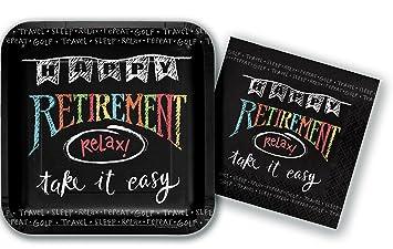 Happy Retirement Party Plates and Napkins Bundle - 2 Items 10 Inch Square Paper Plates  sc 1 st  Amazon.com & Amazon.com: Happy Retirement Party Plates and Napkins Bundle - 2 ...