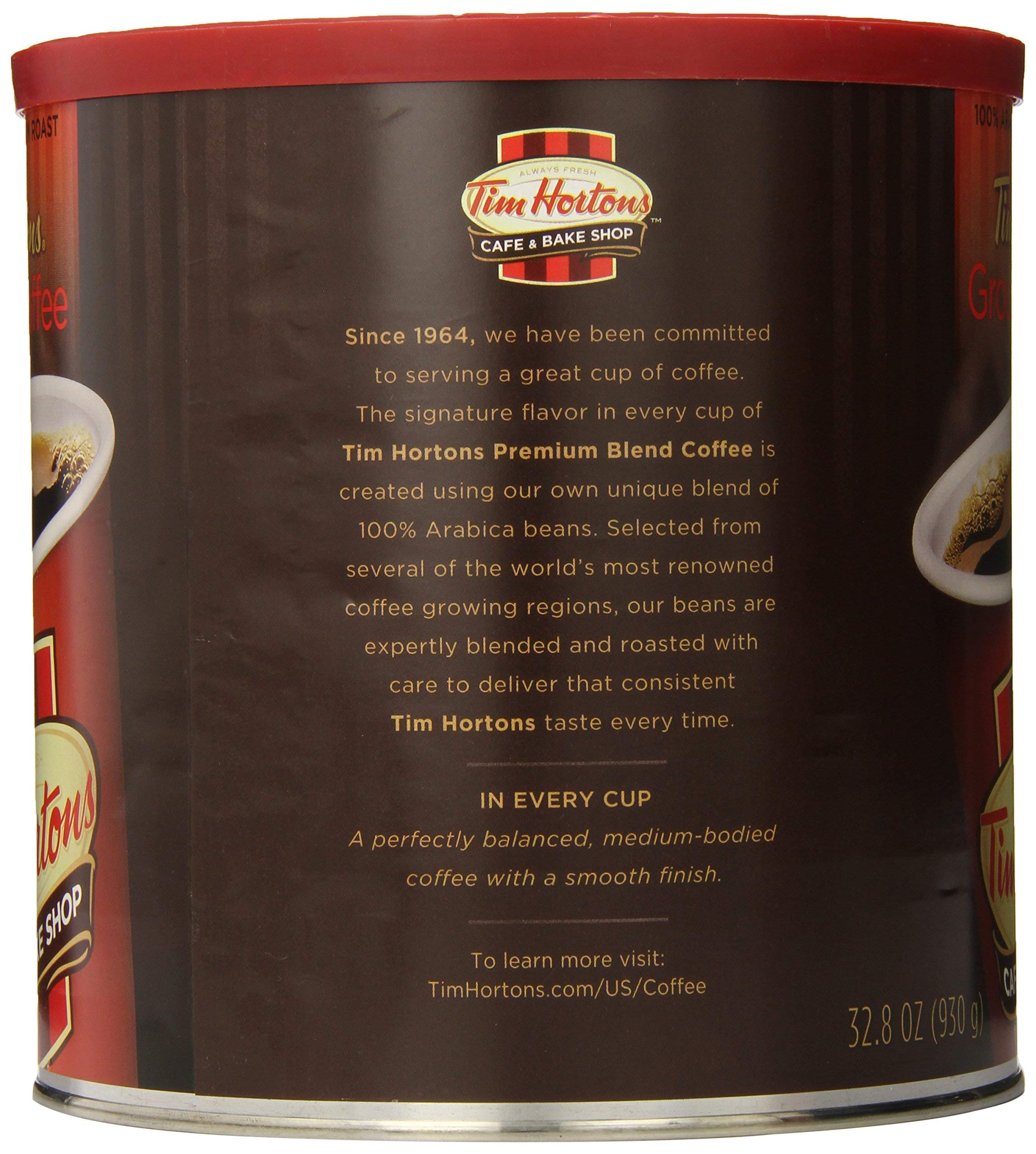 Tim Hortons HBRKMMCX 100% Arabica Medium Roast Original Blend Ground Coffee, 32.8 Ounce, Pack of 2 by Tim Hortons (Image #2)