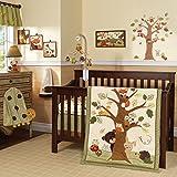 Lambs & Ivy Echo 9-Piece Crib Bedding Set - Woodland/Forest Raccoon,Fox, Animals