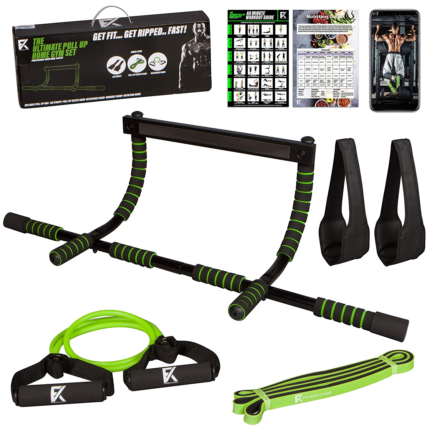 Fitness Kings Brand The Ultimate Pull Up Bar Set – 4 in 1 Door Chin Up Bar, Pull Up Assist Band, Ab Straps, Resistance Bands Home Gym Set w Workout Program