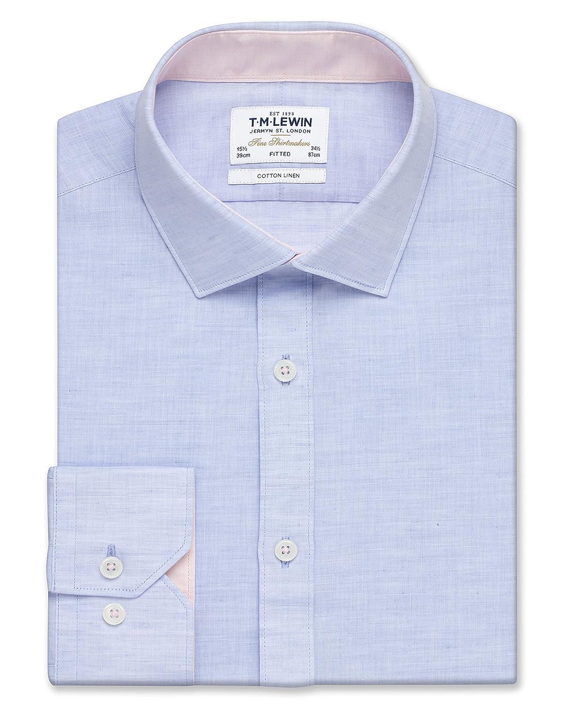 Tmlewin Mens Shirt Cotton Linen Blue Button Cuff Everyday Wear