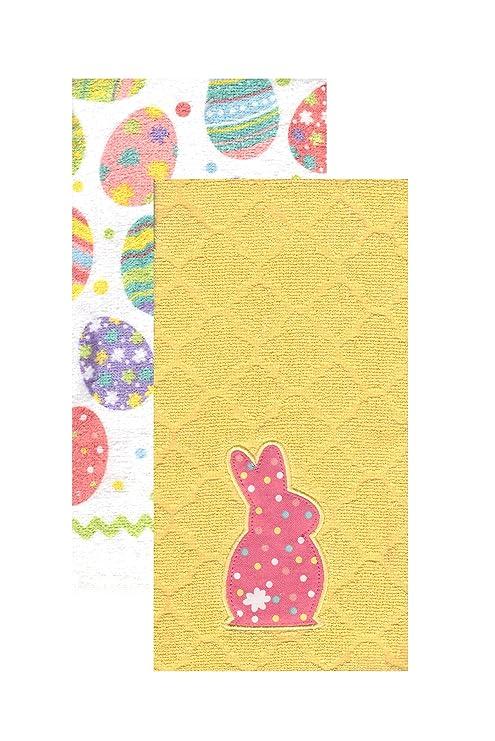 Lunares Bunny y decorada huevos de Pascua cocina juego de toallas 2 Pk