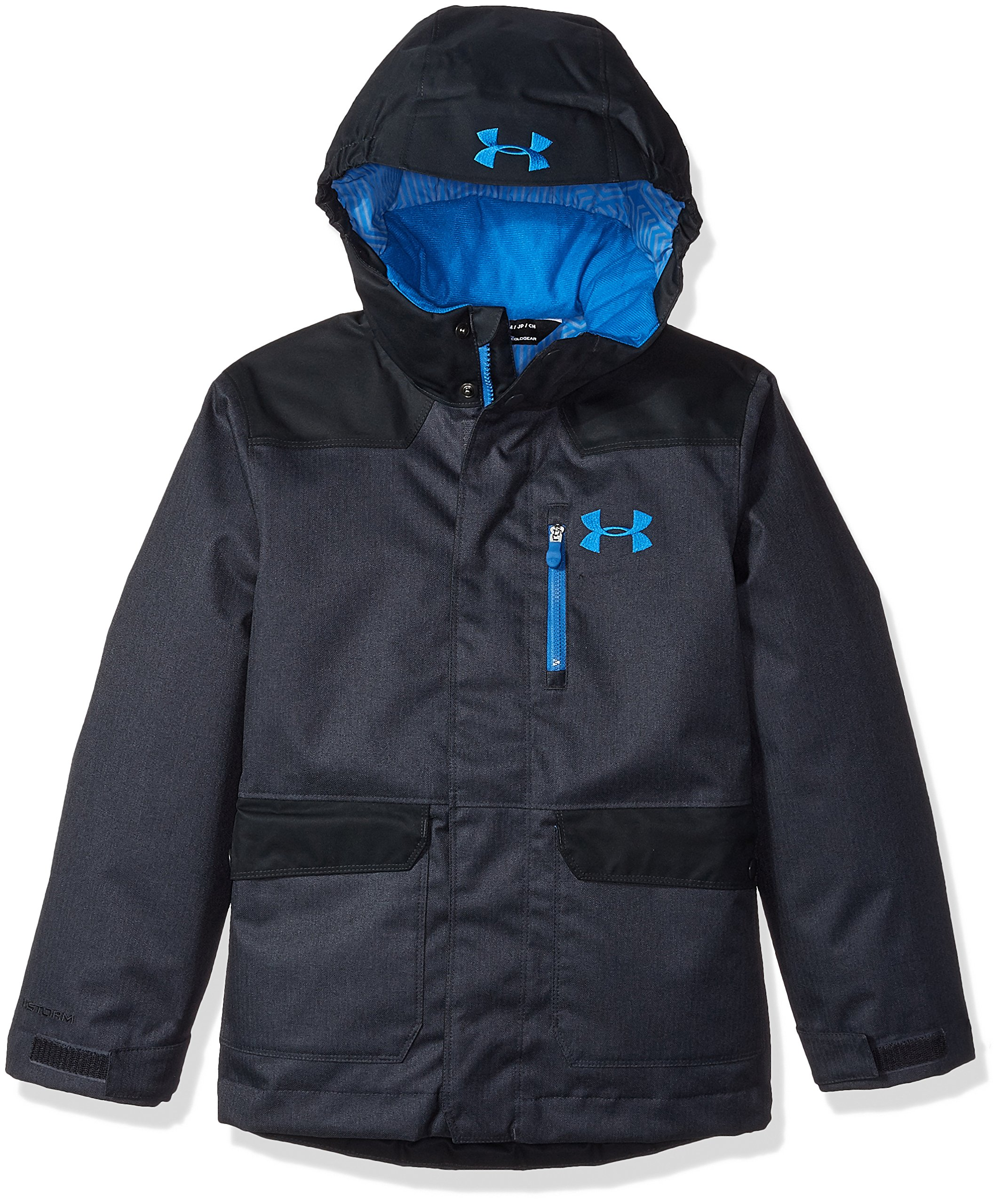 Under Armour Boys' ColdGear Reactor Yonders Parka, Anthracite/Cruise Blue, Youth Large